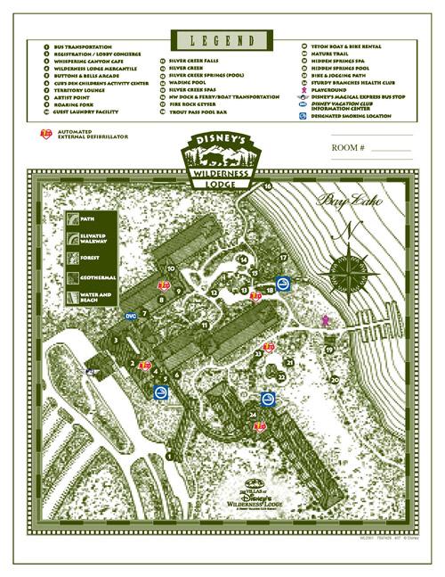 The Villas at Disney's Wilderness Lodge Map