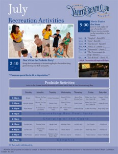 Yacht and Beach Club July 2012 Activities