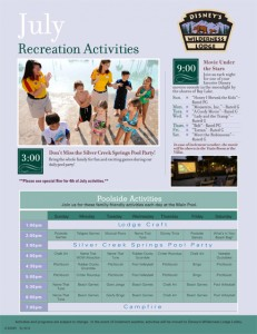 July 2012 Wilderness Lodge Activities
