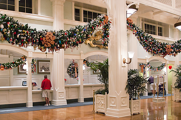BoardWalk Lobby with Holiday Decorations