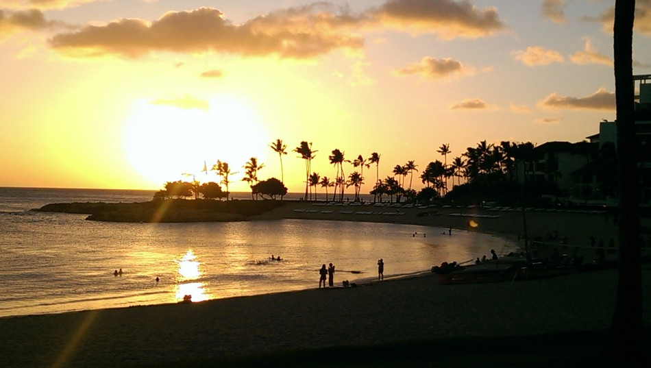 Aulani Lagoon at sunset