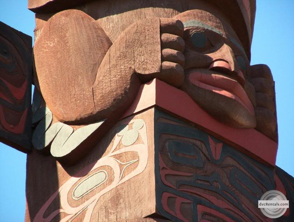 Hidden Mickey near top of totem pole - Canada in Epcot