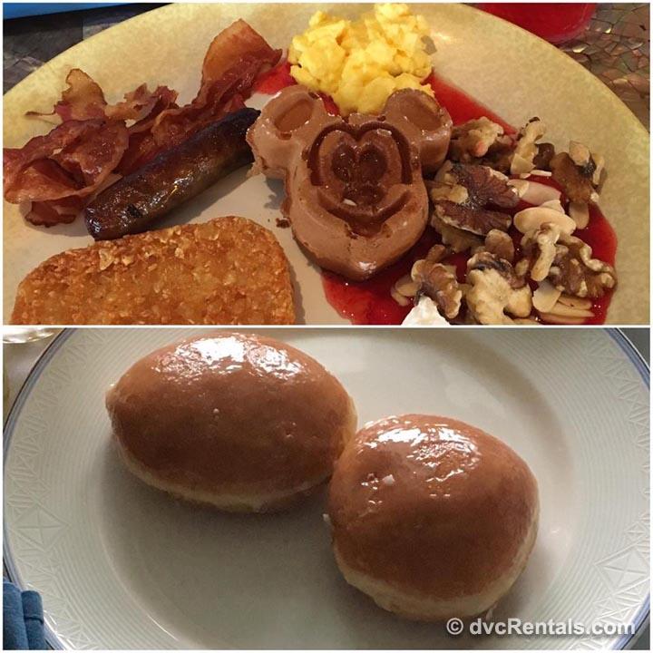Cabanas breakfast buffet Mickey waffles jelly donuts