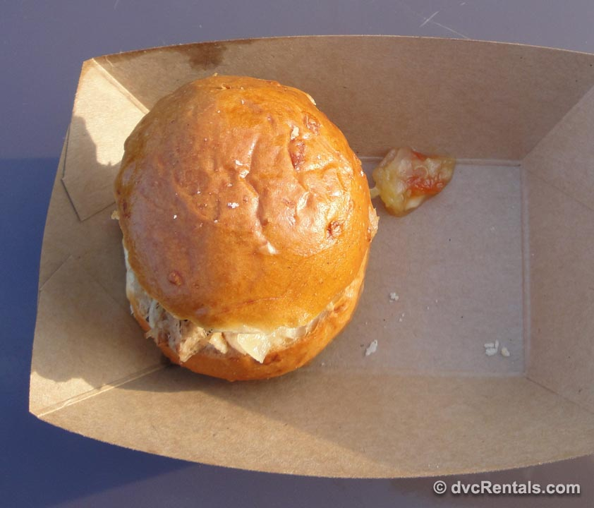 Kalua pork slider with pineapple chutney from Hawaii at Epcot