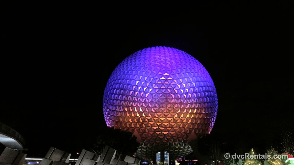 Disney Spaceship Earth Light up at Night
