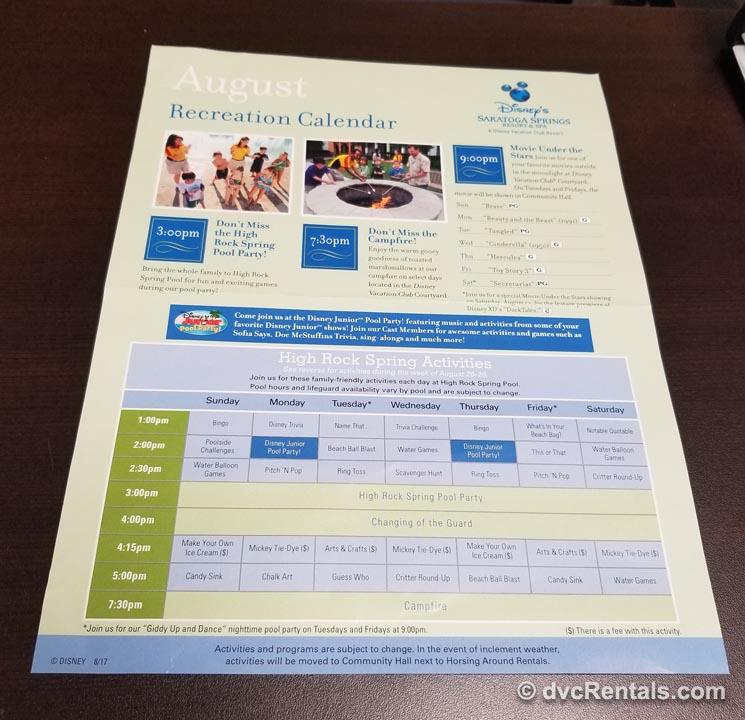 Disney recreation calendar