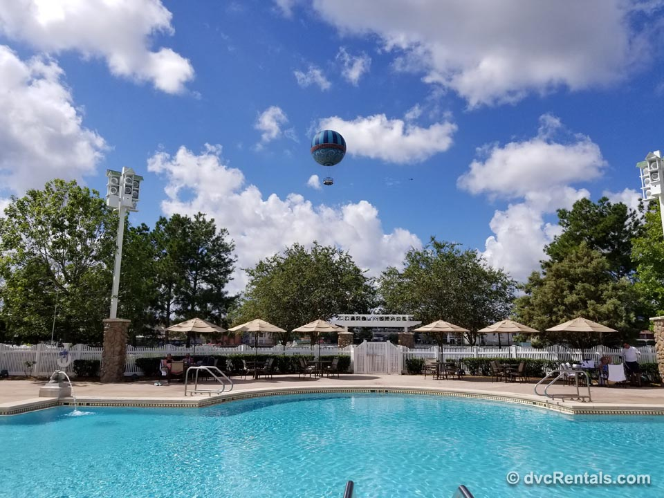 Disney Pool with overhead hot air baloon