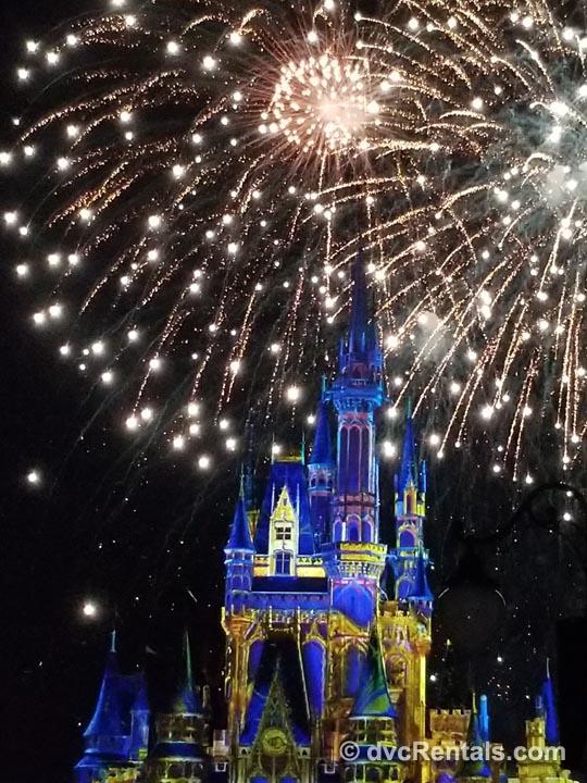 Fireworks at Magic Kingdom Tower