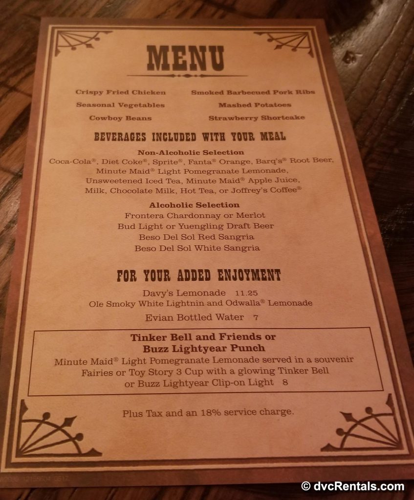 Hoop-Dee-Doo Musical Dinner Menu