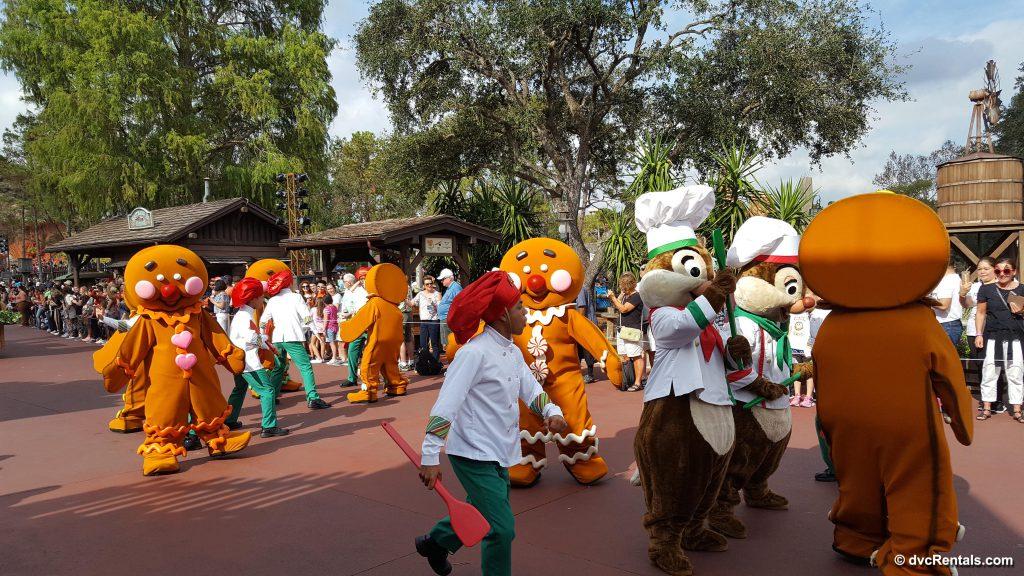 Gingerbread Men and Chip N Dale Disney Parade