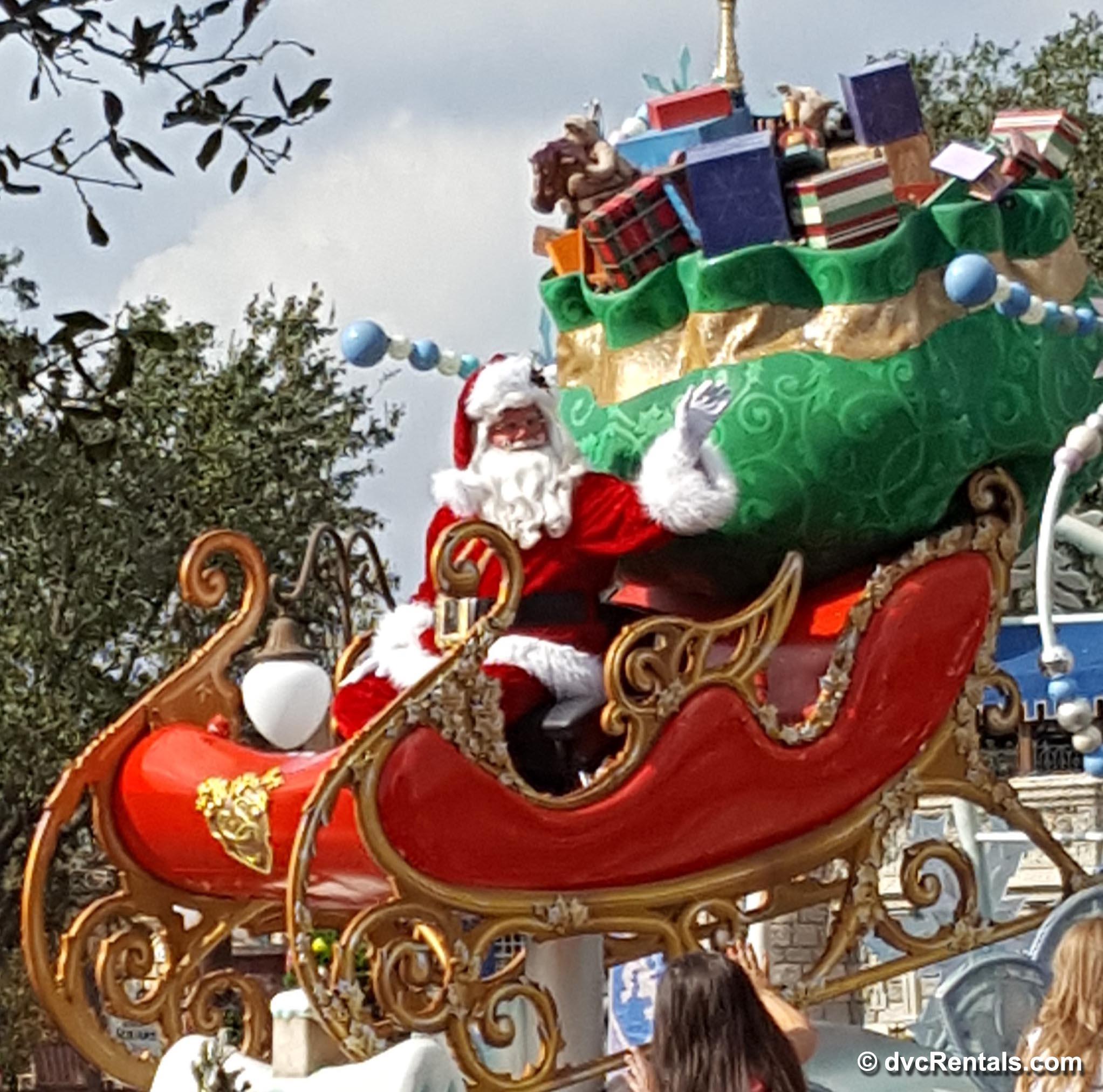 santa at disney christmas parade