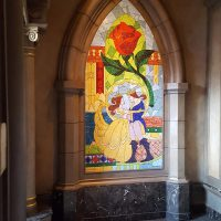 Stained glass piece of Belle, The Beast and the Rose