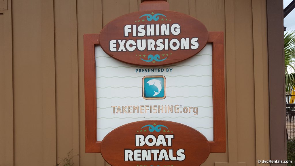 Sign at Polynesian Resort for Fishing Excursions Boat Rentals