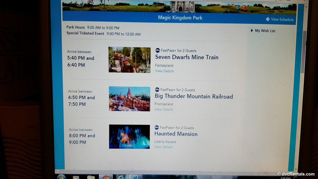My Disney Experience App Activity Selection