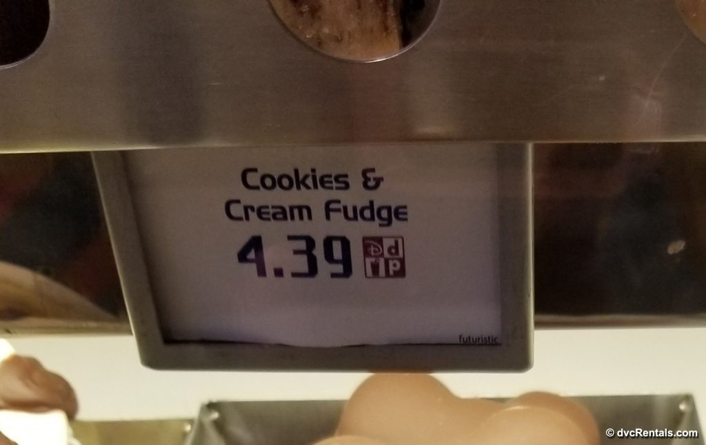 Price tag for Cookies and Cream Fudge at Disney World