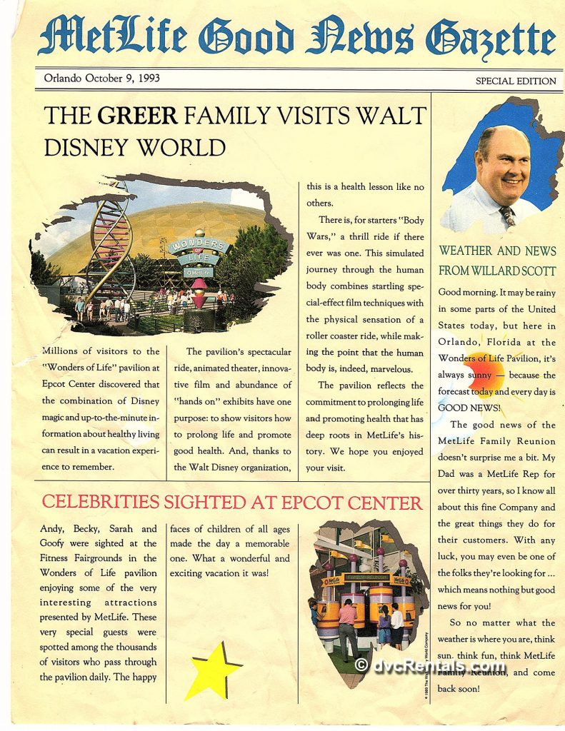 Newspaper with info and pick with front of building
