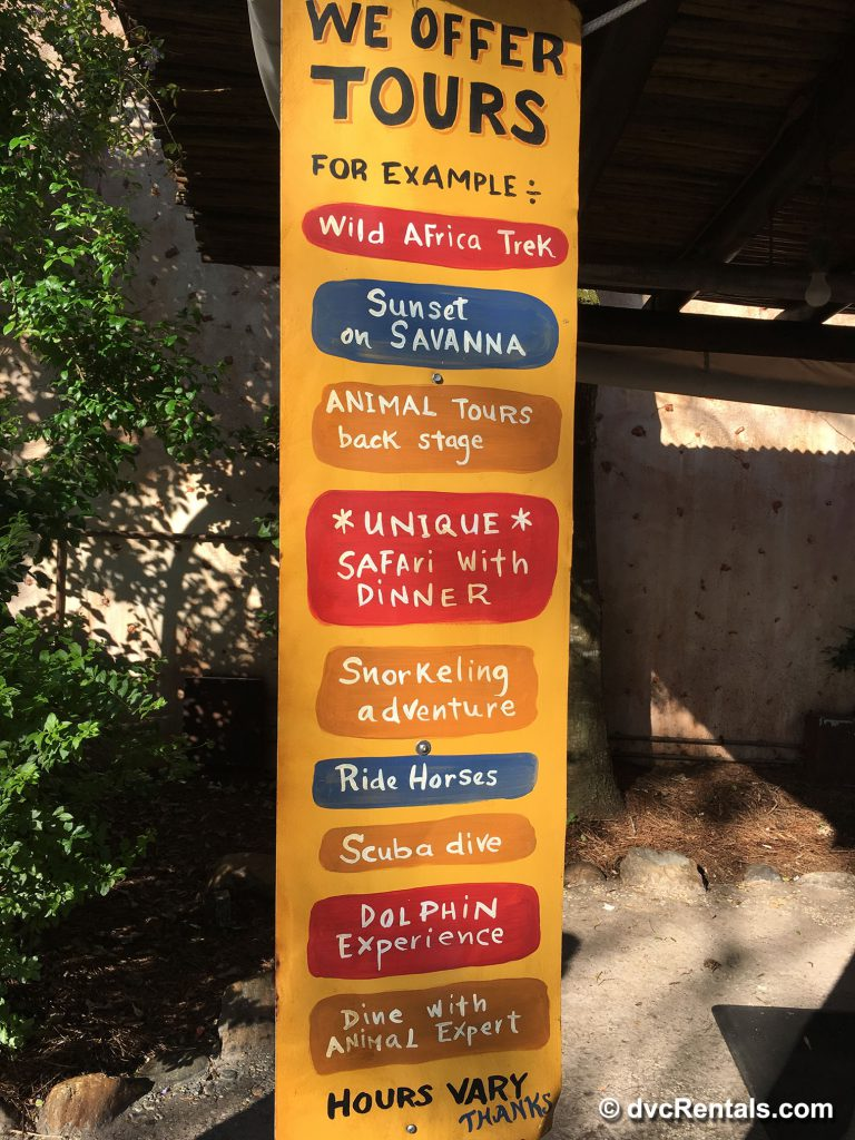 Sign from the Animal Kingdom Tour Booth