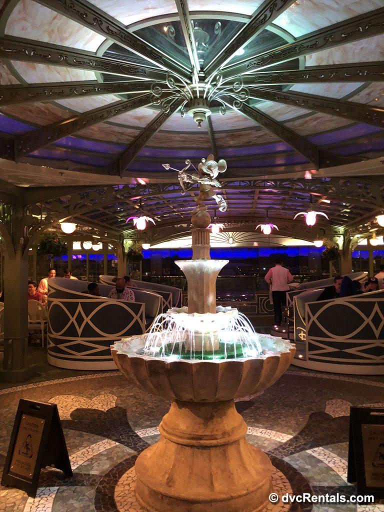 Fountain in Enchanted Garden restaurant