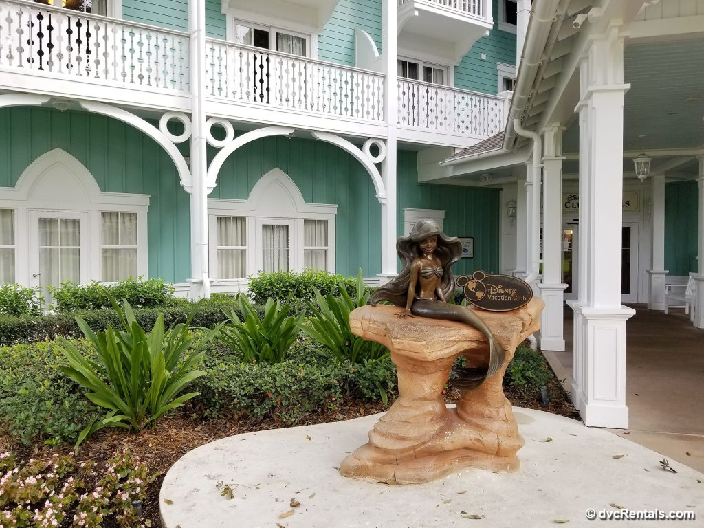 Entrance to Disney's Beach Club Villas with Little Mermaid Statue