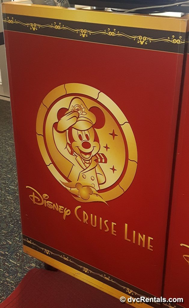 Disney Cruise Line sign inside Port Canaveral terminal