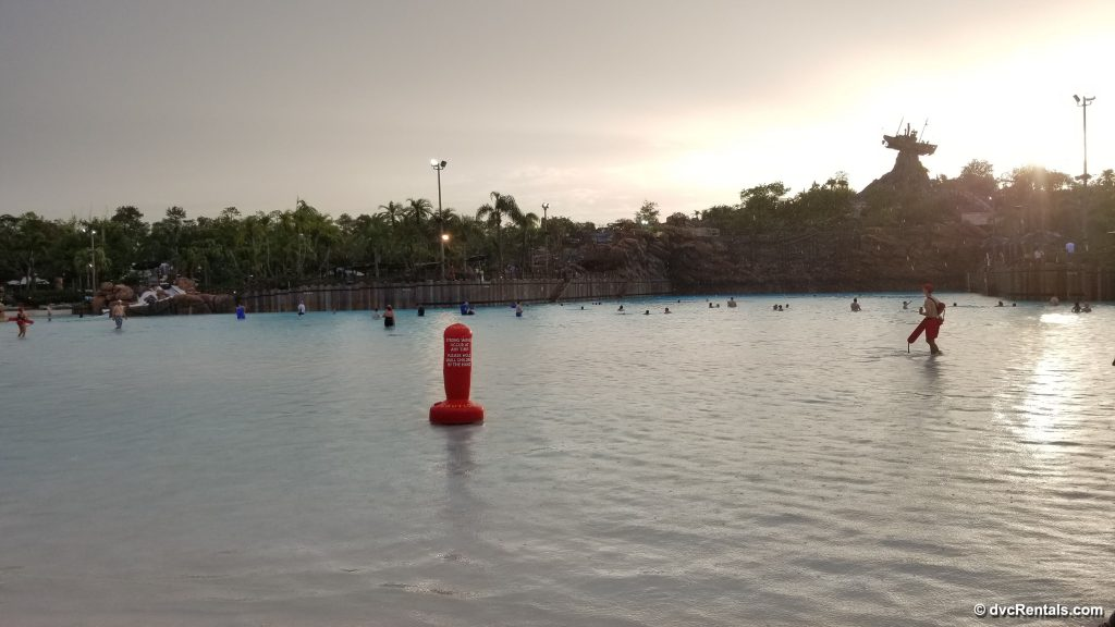 Sun setting across the Wave Pool at Typhoon Lagoon