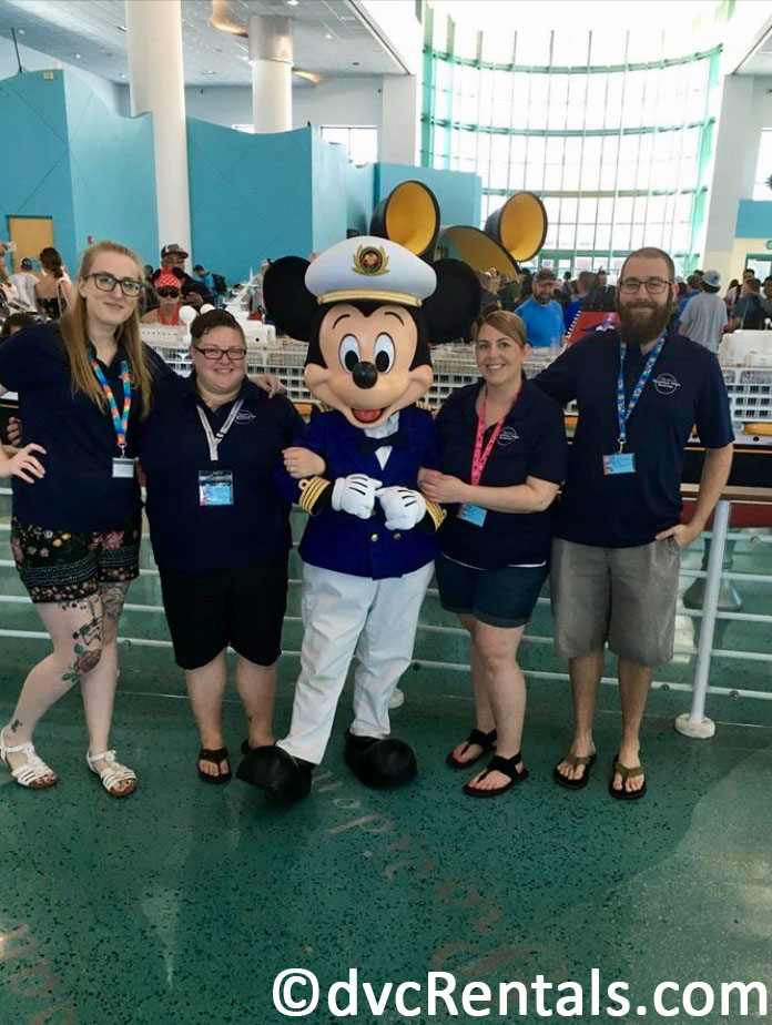 Team Members Lindsay, Chelsey, Stacy and Kevin with Captain Mickey Mouse