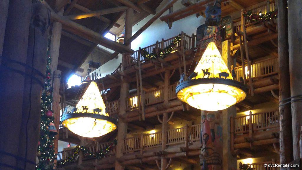 Chandeliers handing in the lobby of Disney's Wilderness Lodge