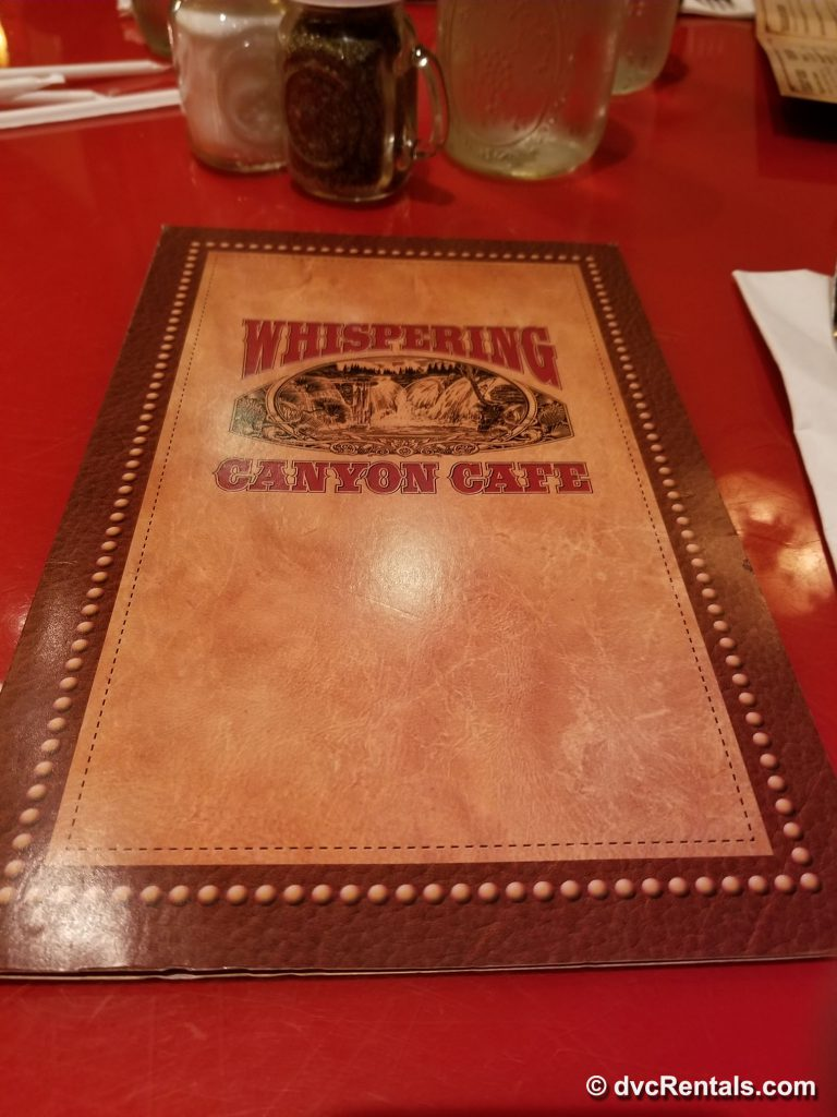 Whispering Canyon Café menu