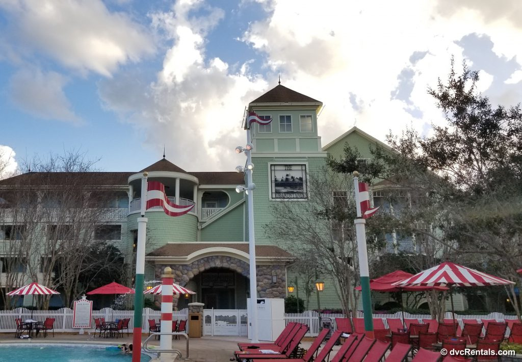 Exterior picture of Disney's Saratoga Springs Resort & Spa including partial image of pool area
