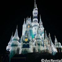 Cinderella's Castle from Magic Kingdom decorated in Christmas lights