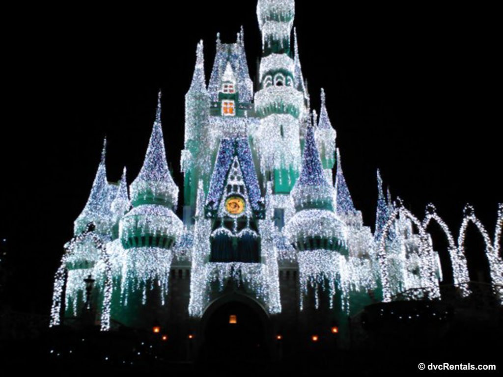 Cinderella's Castle lit up with Christmas Lights