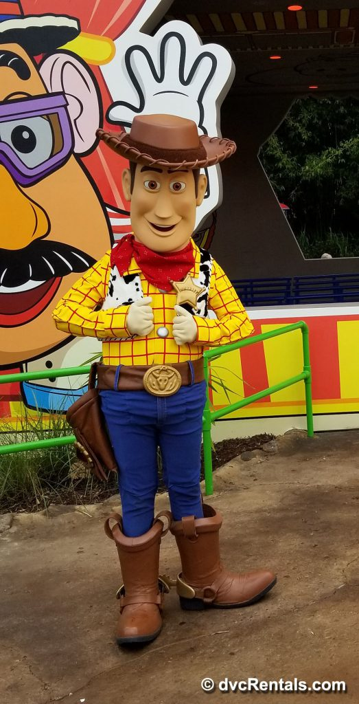 Woody posing for a picture in Toy Story Land