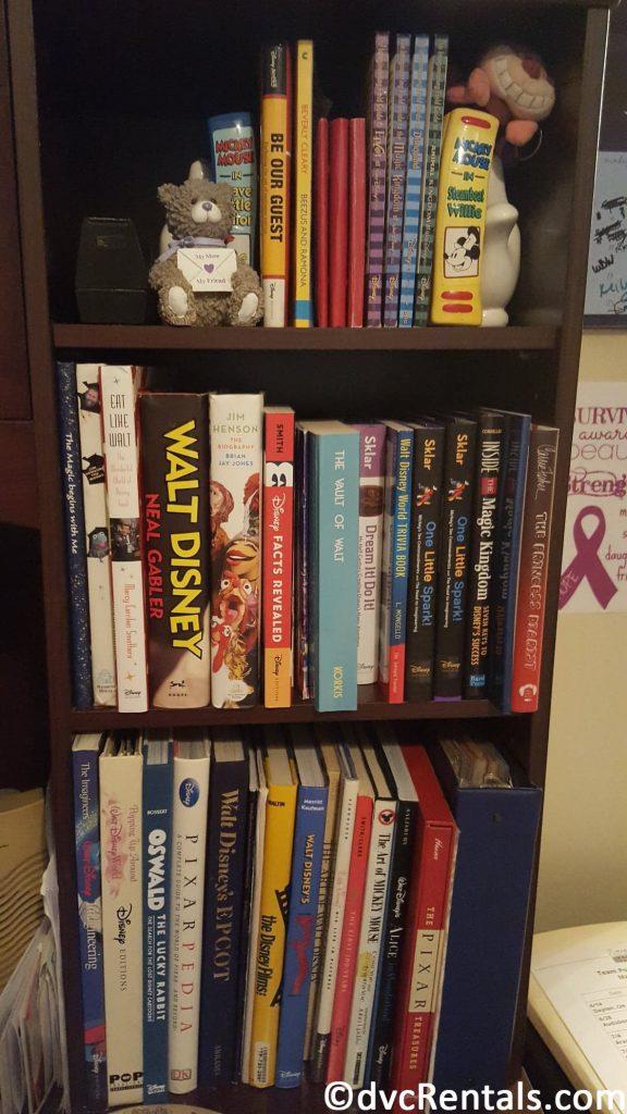 Collection of Disney books on a bookshelf