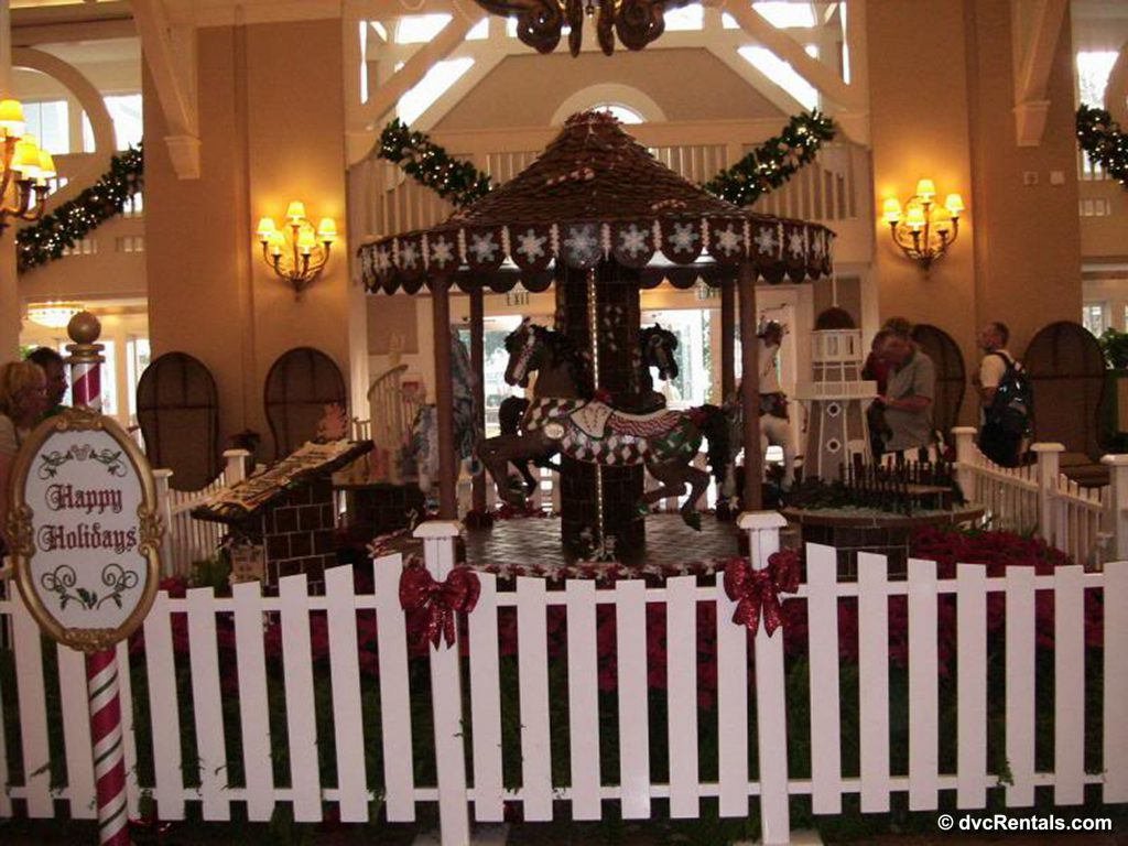 Disney's Beach Club Villas' lobby decorated for Christmas
