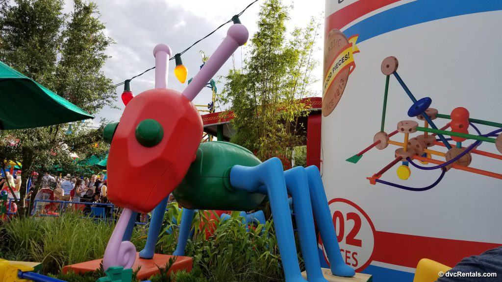 Ant toy showing theming in Toy Story Land