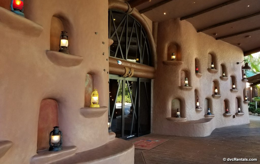 Entrance to Kidani Village with lit lanterns