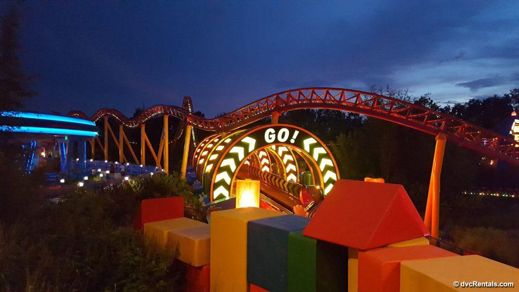 Slinky Dog Coaster at night
