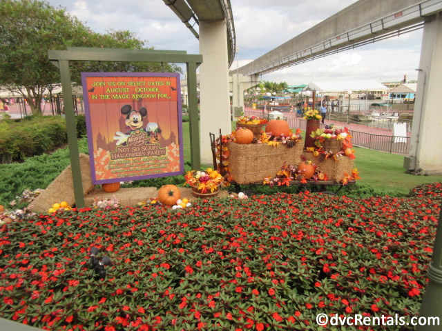 MNSSHP sign and decorations at the front of the Magic Kingdom