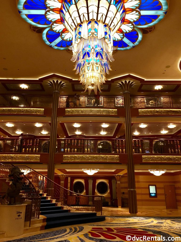 chandelier in the lobby of the Disney Dream