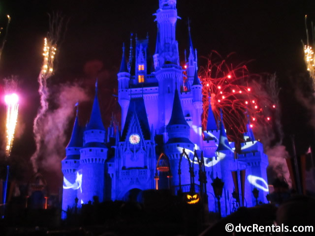 HalloWishes Fireworks in front of Cinderella's Castle