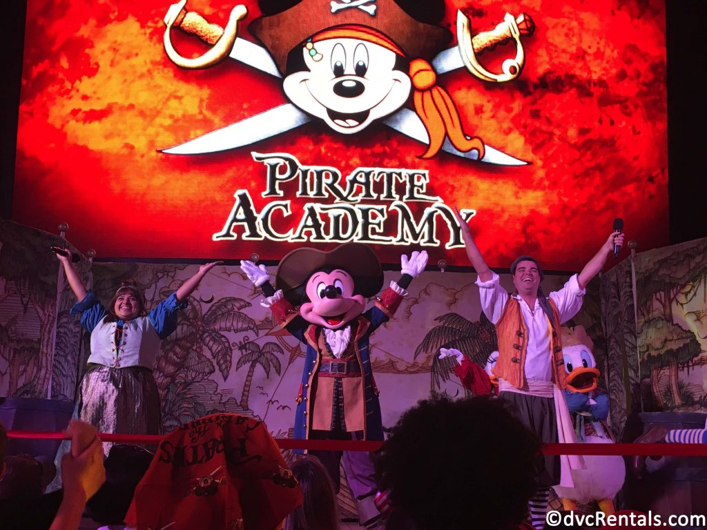 photo of Mickey Mouse on stage at the Pirate Party