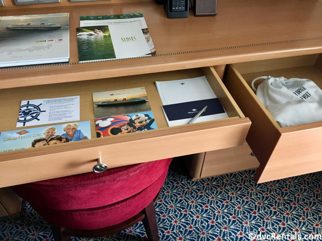drawers in the stateroom the on the Disney Dream