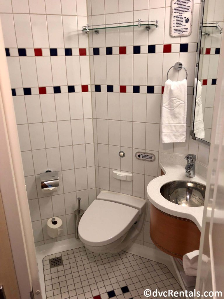 sink and toilet area of the split bath on the Disney Dream