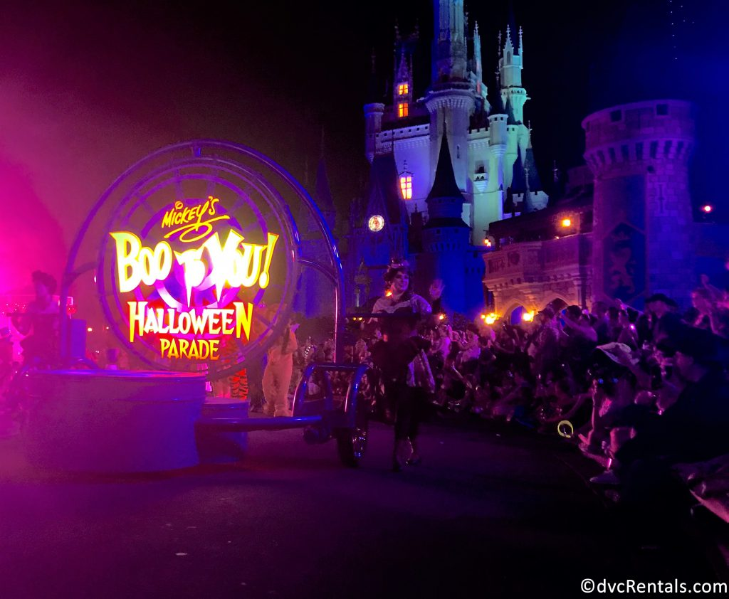 Boo-to-You sign with Cinderella's castle in the background