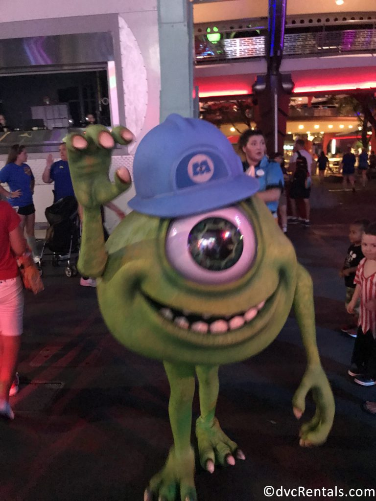 Mike Wazowski at the Monsters Inc Dance Party