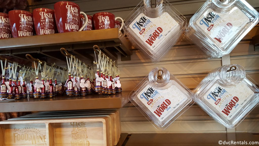 Food and Wine merchandise available to purchase at the Festival Center
