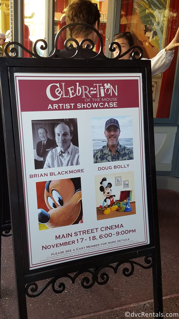 sign for Disney Artist's appearing at Magic Kingdom