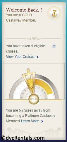 screenshot of DCL app showing Gold Castaway Club level