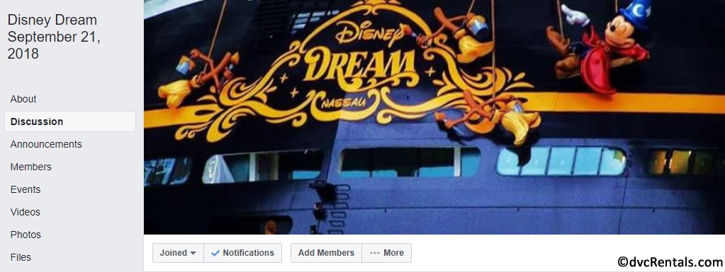 Screenshot of Facebook group for Disney Dream sailings