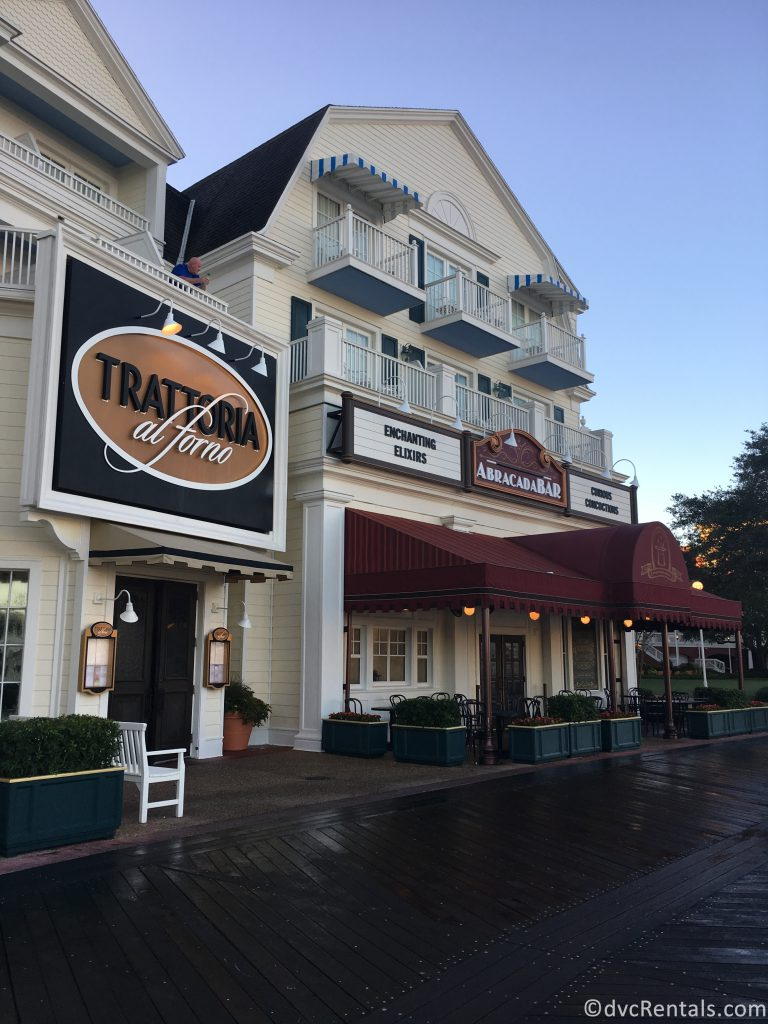 exterior shot of the Trattoria al Forno restaurant at Disney's Boardwalk Villas